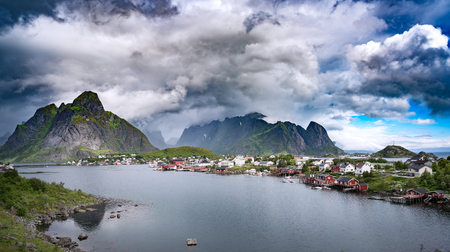 Storm cloud Lofoten is an archipelago in the county of Nordland, Norway. Is known for a distinctive scenery with dramatic mountains and peaks, open sea and sheltered bays, beaches and untouched lands. Stock Photo