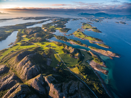 fjords: Beautiful Nature Norway natural landscape aerial photography. Stock Photo