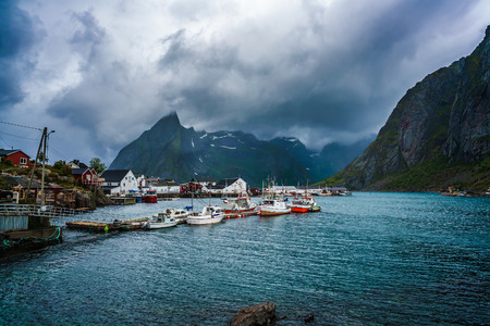 sheltered: Marina boat Lofoten islands in the county of Nordland, Norway. Is known for a distinctive scenery with dramatic mountains and peaks, open sea and sheltered bays, beaches and untouched lands.