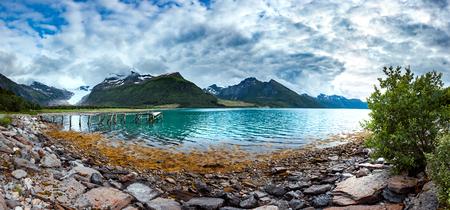 Panorama Glacier on the viewing platform. Svartisen Glacier in Norway.