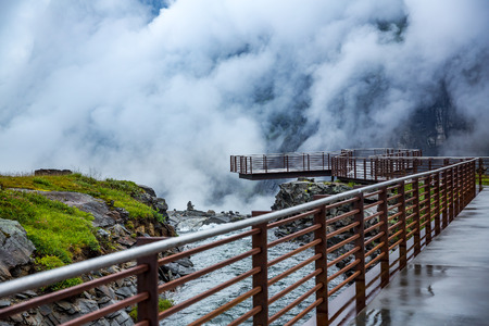 Troll road lookout observation deck view point beautiful nature norway. Stock Photo