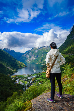 mi: Geiranger fjord, Beautiful Nature Norway panorama. It is a 15-kilometre (9.3 mi) long branch off of the Sunnylvsfjorden, which is a branch off of the Storfjorden (Great Fjord).