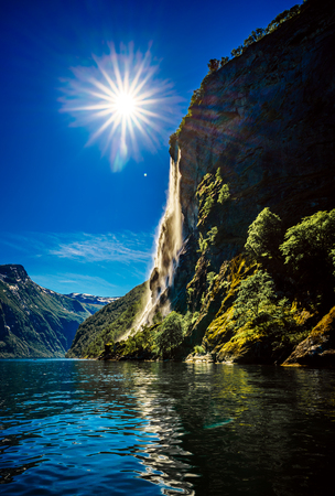 fjords: Geiranger fjord, waterfall Seven Sisters. Beautiful Nature Norway natural landscape.