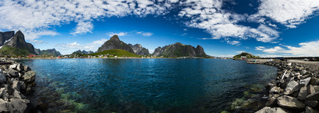 sheltered: Panorama Lofoten islands in the county of Nordland, Norway. Is known for a distinctive scenery with dramatic mountains and peaks, open sea and sheltered bays, beaches and untouched lands.