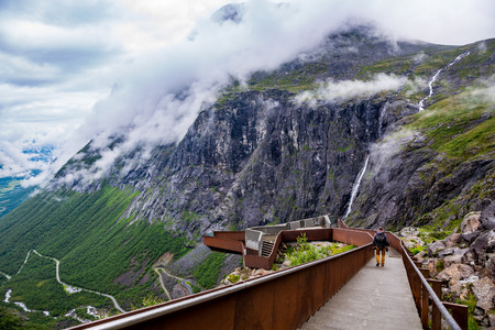 fjords: Troll road lookout observation deck view point beautiful nature norway. Editorial