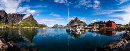 water  panoramic: Lofoten is an archipelago in the county of Nordland, Norway. Is known for a distinctive scenery with dramatic mountains and peaks, open sea and sheltered bays, beaches and untouched lands.