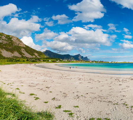 Beach Lofoten islands is an archipelago in the county of Nordland, Norway. Is known for a distinctive scenery with dramatic mountains and peaks, open sea and sheltered bays, beaches Stock Photo