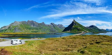 Family vacation travel, holiday trip in motorhome, Caravan car Vacation. Beautiful Nature Norway natural landscape.