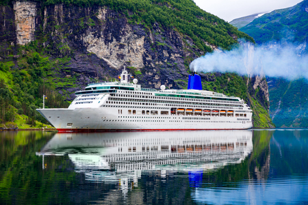 cruise travel: Cruise Ship, Cruise Liners On Geiranger fjord, Norway