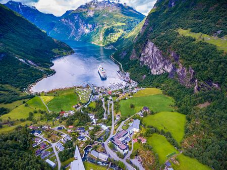 Geiranger fjord, Beautiful Nature Norway aerial photography. It is a 15-kilometre (9.3 mi) long branch off of the Sunnylvsfjorden, which is a branch off of the Storfjorden (Great Fjord).