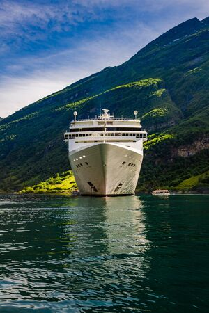 hardanger: Cruise Ship, Cruise Liners On Geiranger fjord, Norway. Tourism vacation and traveling.