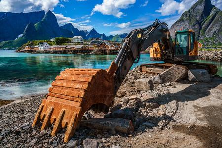 bagger: Lofoten islands - Excavator, bulldozer repair work on the road, Norway