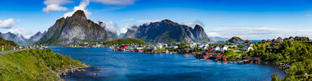 norway: Panorama Lofoten is an archipelago in the county of Nordland, Norway. Is known for a distinctive scenery with dramatic mountains and peaks, open sea and sheltered bays, beaches and untouched lands.