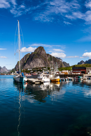 Lofoten islands is an archipelago in the county of Nordland, Norway. Is known for a distinctive scenery with dramatic mountains and peaks, open sea and sheltered bays, beaches and untouched lands. Stock Photo