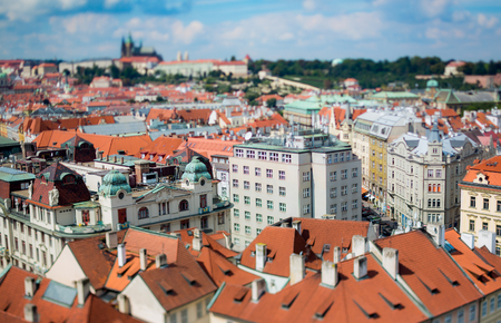 Prague view of the city from above. Tilt shift lens.