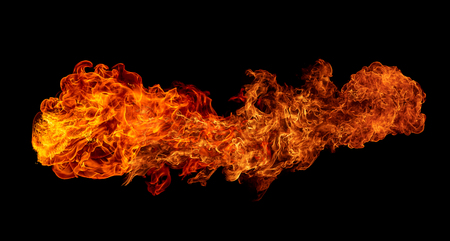 scorch: Fire isolated on black background. Stock Photo
