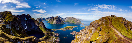 distinctive: Lofoten is an archipelago panorama in the county of Nordland, Norway. Is known for a distinctive scenery with dramatic mountains and peaks, open sea and sheltered bays, beaches and untouched lands.