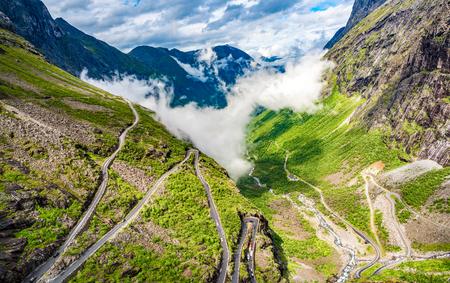 Trolls Path Trollstigen or Trollstigveien winding mountain road in Norway.