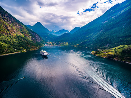 mi: Geiranger fjord, Beautiful Nature Norway. It is a 15-kilometre (9.3 mi) long branch off of the Sunnylvsfjorden, which is a branch off of the Storfjorden aerial photography.