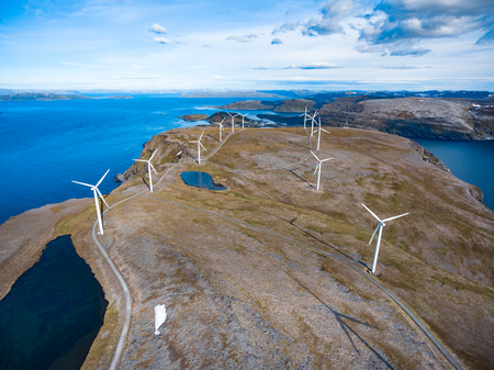 Windmills for electric power production. Arctic View, Havoysund, Northern Norway aerial photography.