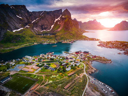 sheltered: Lofoten islands is an archipelago aerial photography., Norway. Is known for a distinctive scenery with dramatic mountains and peaks, open sea and sheltered bays, beaches and untouched lands.