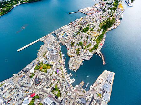 Aksla at the city of Alesund , Norway Aerial footage