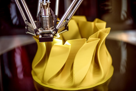 3D printer printing, also known as additive manufacturing (AM), refers to processes used to create a three-dimensional object in which layers of material are formed under computer control. Stok Fotoğraf