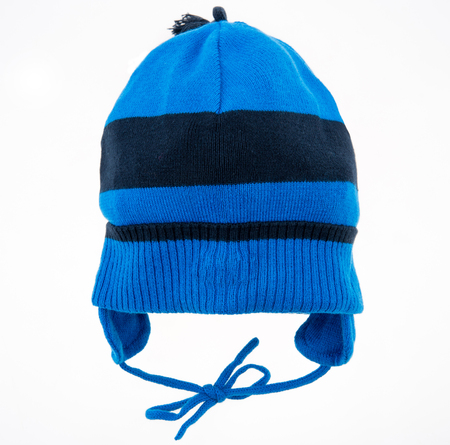 Childrens winter hat isolated on a white background.