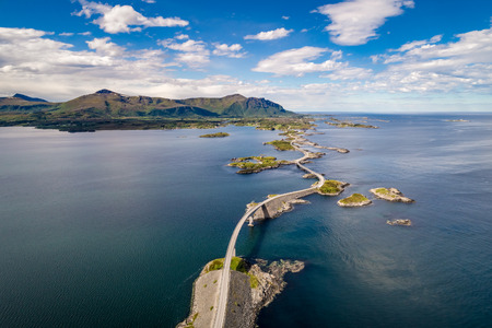 Atlantic Ocean Road or the Atlantic Road (Atlanterhavsveien) been awarded the title as Norwegian Construction of the Century. The road classified as a National Tourist Route. Aerial photography 版權商用圖片