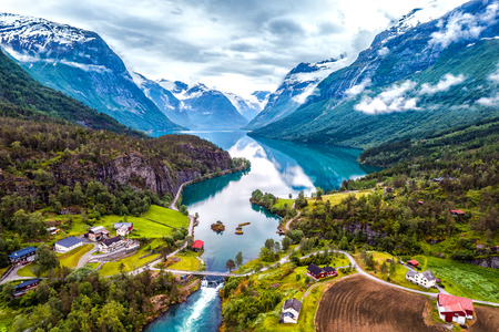 Beautiful Nature Norway natural landscape aerial photography. Stok Fotoğraf