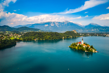 europeans: Slovenia - Aerial view resort Lake Bled. Aerial FPV drone photography.