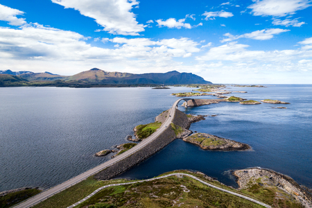 Atlantic Ocean Road or the Atlantic Road (Atlanterhavsveien) been awarded the title as Norwegian Construction of the Century. The road classified as a National Tourist Route. Aerial photography Stock Photo