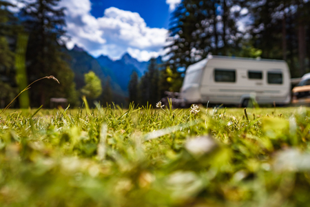 Family vacation travel, holiday trip in motorhome RV, Caravan car Vacation. Beautiful Nature Italy natural landscape Alps. Stock Photo - 88051484