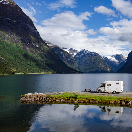 Family vacation travel RV, holiday trip in motorhome, Caravan car Vacation. Beautiful Nature Norway natural landscape. Stock fotó - 88503264