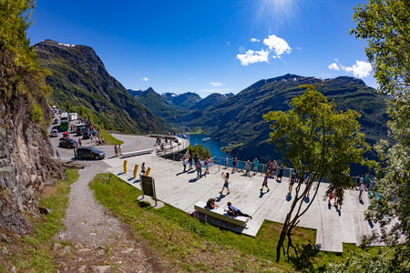 NORWAY, Geiranger fjord - JULY 20,2016: Viewing point Geiranger fjord Norway. It is a 15-kilometre (9.3 mi) long branch off of the Sunnylvsfjorden, which is a branch off of the Storfjorden Editorial
