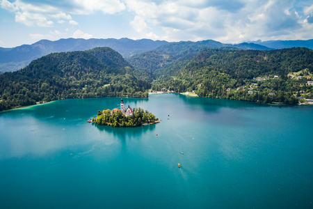 europeans: Slovenia - Aerial view resort Lake Bled. Aerial FPV drone photography. Slovenia Beautiful Nature Castle Bled. Stock Photo