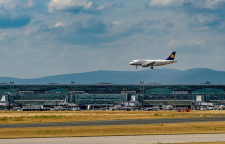 FRANKFURT,GERMANY: JUNE 23, 2017: Airbus A319 LUFTHANSA. Lufthansa, is the largest German airline and, when combined with its subsidiaries, also the largest airline in Europe