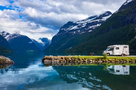 Family vacation travel RV, holiday trip in motorhome, Caravan car Vacation. Beautiful Nature Norway natural landscape.