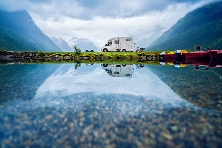 Family vacation travel RV, holiday trip in motorhome, Caravan car Vacation. Beautiful Nature Norway natural landscape. Imagens - 93817444