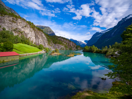 Beautiful Nature Norway natural landscape aerial photography. 写真素材