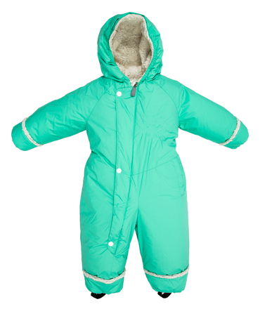 Childrens snowsuit fall on a white background Stock Photo
