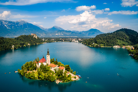 Slovenia - Aerial view resort Lake Bled. 免版税图像 - 97482275