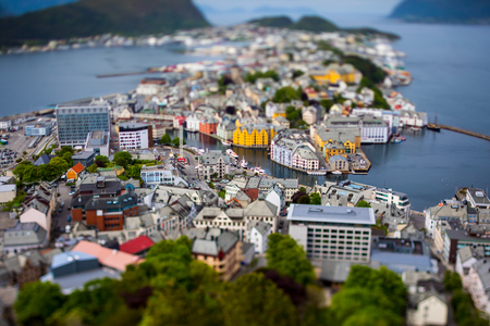 Aksla at the city of Alesund , Norway. It is a sea port, and is noted for its concentration of Art Nouveau architecture.