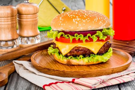 Tasty and appetizing hamburger cheeseburger Stock Photo