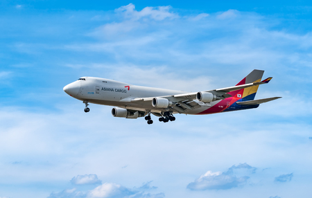 FRANKFURT,GERMANY: JUNE 23, 2017: Boeing 747 Asiana Airlines is one of South Koreas two major airlines, along with Korean Air 報道画像