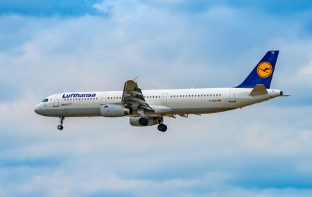 AIRPORT FRANKFURT,GERMANY: JUNE 23, 2017: Airbus A321-200 LUFTHANSA. Lufthansa, is the largest German airline and, when combined with its subsidiaries, also the largest airline in Europe Editorial