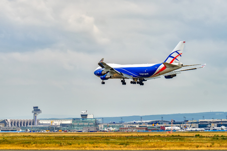 AIRPORT FRANKFURT,GERMANY: JUNE 23, 2017: Boeing 747 CargoLogicAir is a British all-cargo airline with its headquarters in the London Stansted Airport.The airline fleet consists of three Boeing aircraft.