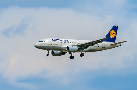 AIRPORT FRANKFURT,GERMANY: JUNE 23, 2017: Airbus A319-100 LUFTHANSA. Lufthansa, is the largest German airline and, when combined with its subsidiaries, also the largest airline in Europe