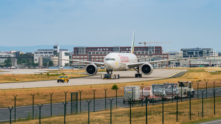 AIRPORT FRANKFURT,GERMANY: JUNE 23, 2017: Boeing Boeing 777-300ER Ethiopian Airlines is Ethiopias flag carrier and is wholly owned by the country's government.