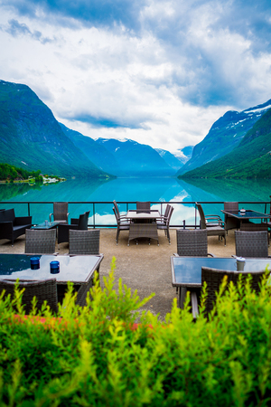 Beautiful Nature Norway natural landscape. Cafe on the nature background